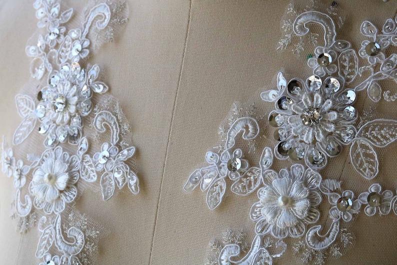 Rhinestone Beaded Lace Applique Pearl Sequin Lace Pair 2028 White Lace Applique 3D Wedding Bridal Lace Applique Handmade Lace Applique