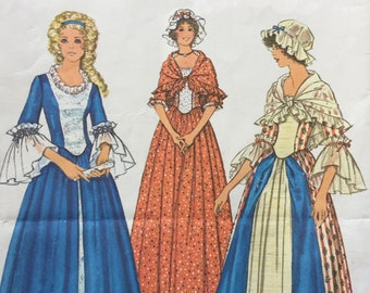 Simplicity 6787 1974 Vintage Sewing Pattern For Bicentennial Costume Dress and Shawl