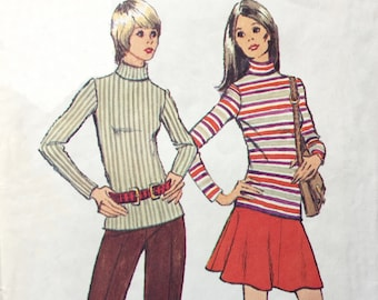 Simplicity 5254 1972 Simple To Sew Misses Jiffy Top Mini-Skirt and Pants