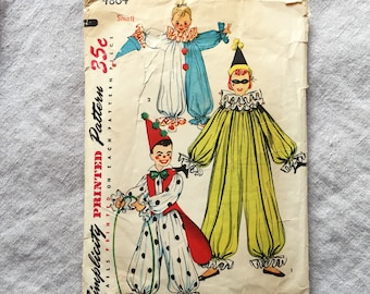Simplicity 4864 Vintage 1954 Clown Costume Sewing Pattern S