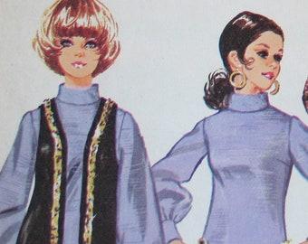 Simplicity 8556 Vintage 1969 Bishop Sleeve Dress Long Vest Wide Trousers Sewing Pattern