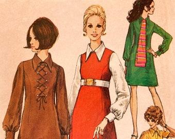 Simplicity 8340 1969 Vintage Sewing Pattern Dagger Collar Dress B36