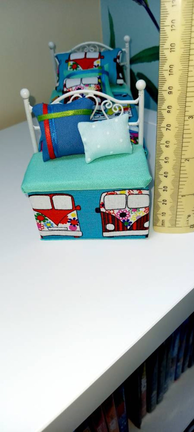 Blanket box CV material with padded fixed seat and two decorative cushions handmade 1:12 scale modern furniture