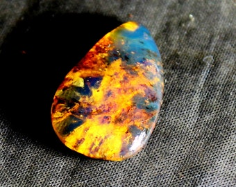 Outstanding Dominican Natural Clear Deep Blue Amber Polished Oval Stone 23x18x11mm 13cts