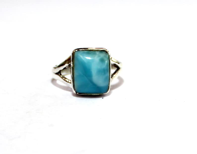 Lovely Natural Volcanic Blue AAA+ Larimar .925 Sterling Silver Ring #7