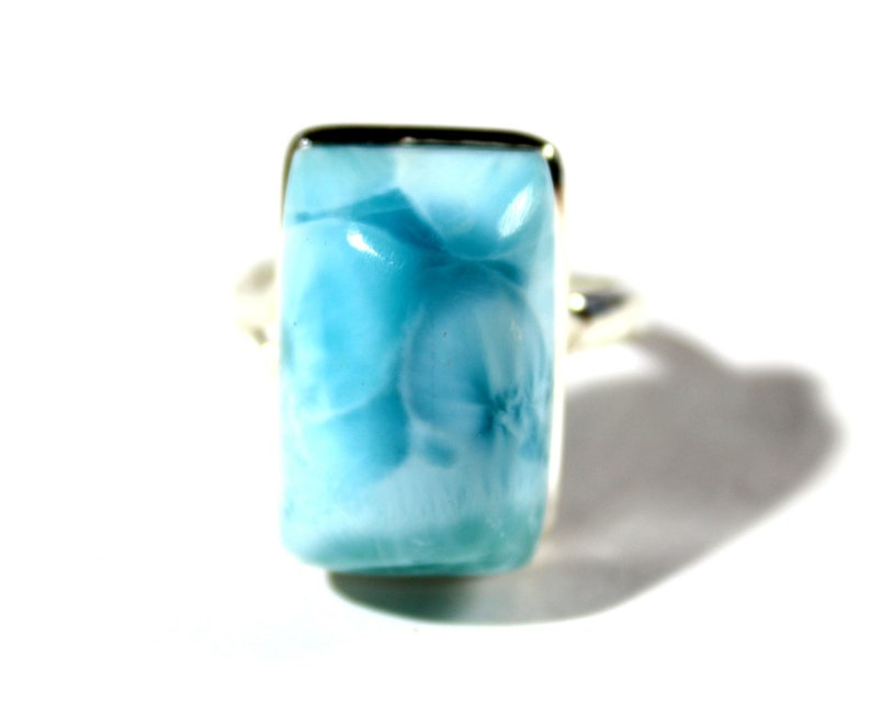 Hugh Bold Natural Sky Blue Larimar .925 Sterling Silver Ring #10 free resizing