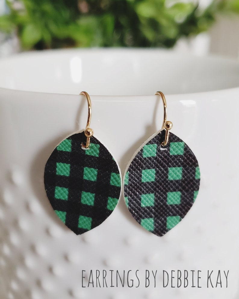 Green /& Black Check Jujubee Faux Leather Earrings