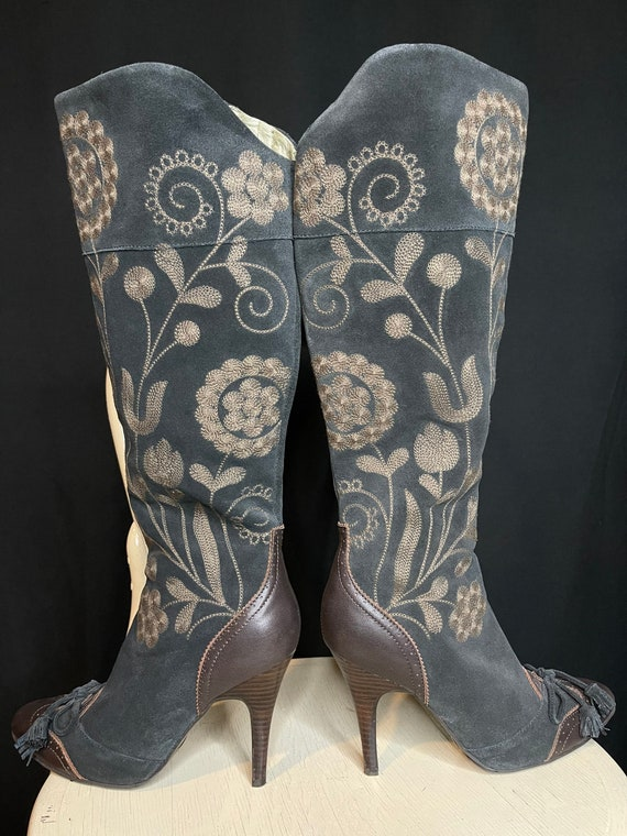 Sam Edelman Chocolate Brown Suede Embroidered Tall