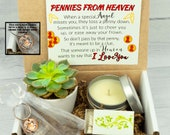 PENNIES FROM HEAVEN. Gift Box. Live Succulent. Succulent Gift Box. Natural Succulent. Succulent and Candle.Gift Box. Sympathy Gift Box. Loss