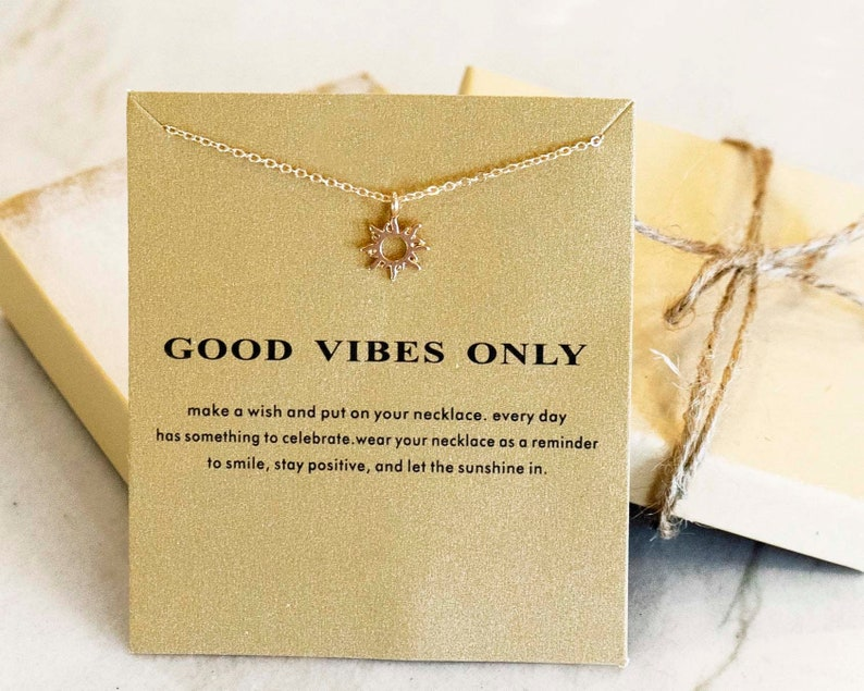 SUNSHINE Good Vibes Wish Sunshine Gift for Her Sunshine Necklace GOOD VIBES only Good Luck Necklace Positive Vibes Dainty Necklace