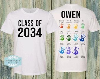 Handprint Graduation Tee / Add Handprint every year / Class of 2033 / Class of 2034 / Class of 2035 / Class of 3036