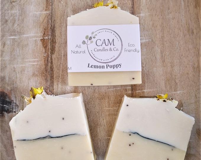Lemon Poppy Soap, Handmade Soap, Lemon Soap, Artisan Soap, Summer Soap, All Natural Soap