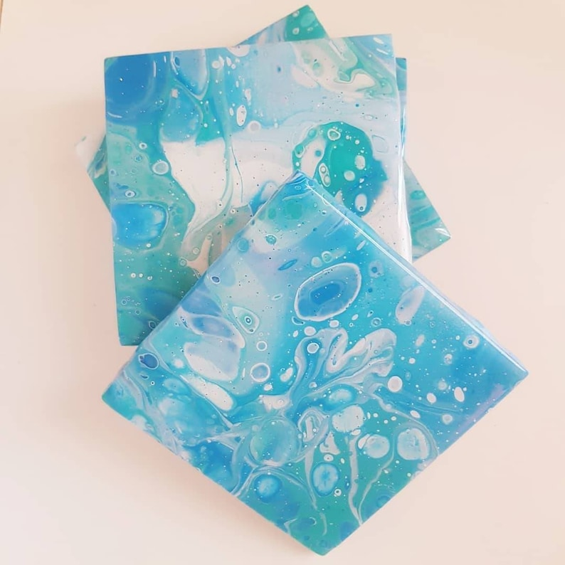 Coasters Made To Order Custom Set of 4 Original Hand Made Acrylic Pour Epoxy Resin 4x4 Square Tile