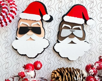 Cool Santa, Naughty Santa, Laser cut Santa, Laser cut Cool Santa, Laser cut Santa Claus Ornament cut file, Laser cut SANTA cut file, svg