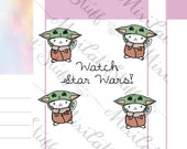 Baby Yoda Stickers Planner Stickers Journal Stickers Emoti Star Wars inspired stickers Cat Stickers C42