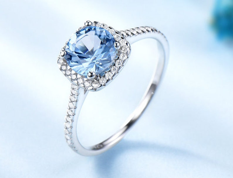 Gift for her Rings Aquamarine Ring 925Sterling Silver Wedding Ring Aquamarine Ring Gift Silver Jewelry Wedding ring Dainty ring