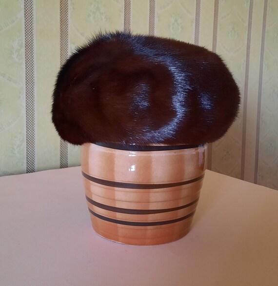 Soviet fur hat. Vintage womens winter hat