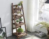 4-Tier Foldable Wooden Ladder Shelf Plant Flower Ladder Shelf, Indoor Outdoor, Plant Stand, Tiered Plant Stand, Plant Stand Indoor