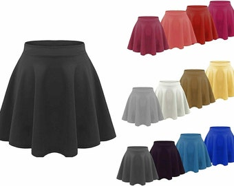 High Waist Skirt Faux Leather Dance Gothic Punk Clubwear Skater Flared Plain