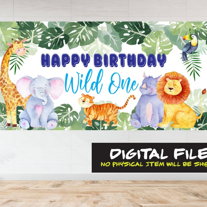 Wild One Backdrop Jungle Backdrop Safari Party Animal Wild One Birthday Backdrop Instant Download Party Banner 1st Birthday Printable Poster