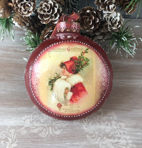 Decoupage Handcrafted Christmas Ornaments For Tree Vintage Etsy