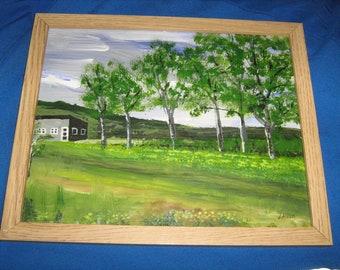 Rural Pennsylvania -Buttercups at the homestead scene-original painting