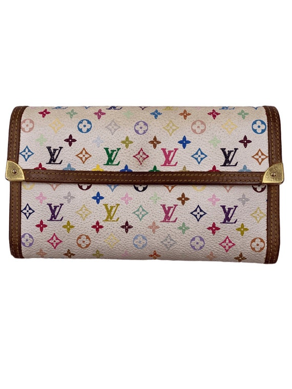 Authentic Louis Vuitton Multicolor White Long Wall