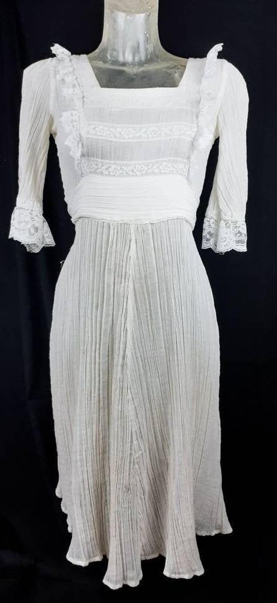1970s White Cheesecloth and Lace Smocked Prairie D