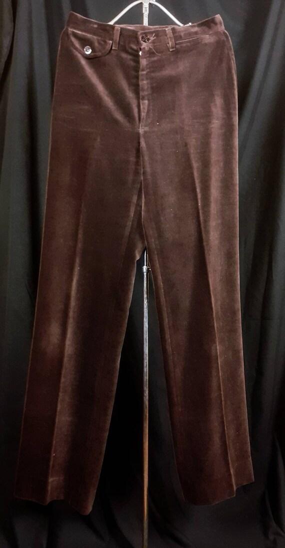 1970s High Waisted Wide Legged Brown Velvet Trouse