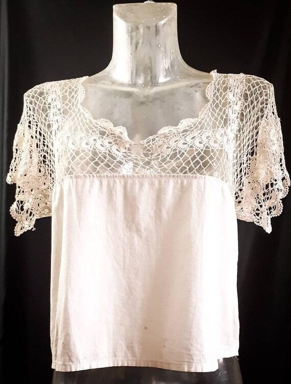 Beige Victorian Crochet Chemise Blouse  S/M