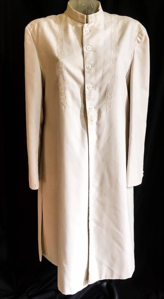 1960s Unisex Beige White Nehru Coat M