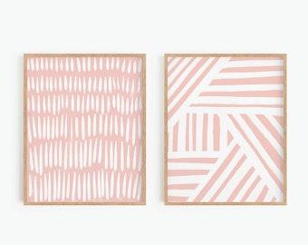 Abstract Art Prints, Blush Pink Printable Wall Art, Set of 2 Prints, Boho Decor, Stripes Print, Digital Print,  Instant Download Art