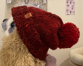 Super chunky knitted red beanie