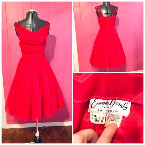 Vintage Emma Domb Red Chiffon Party Dress