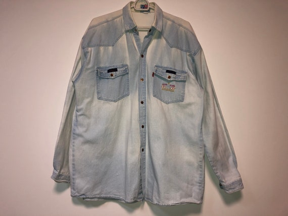 50s Levis denim shirt XL western shirt / 60s Levi… - image 2