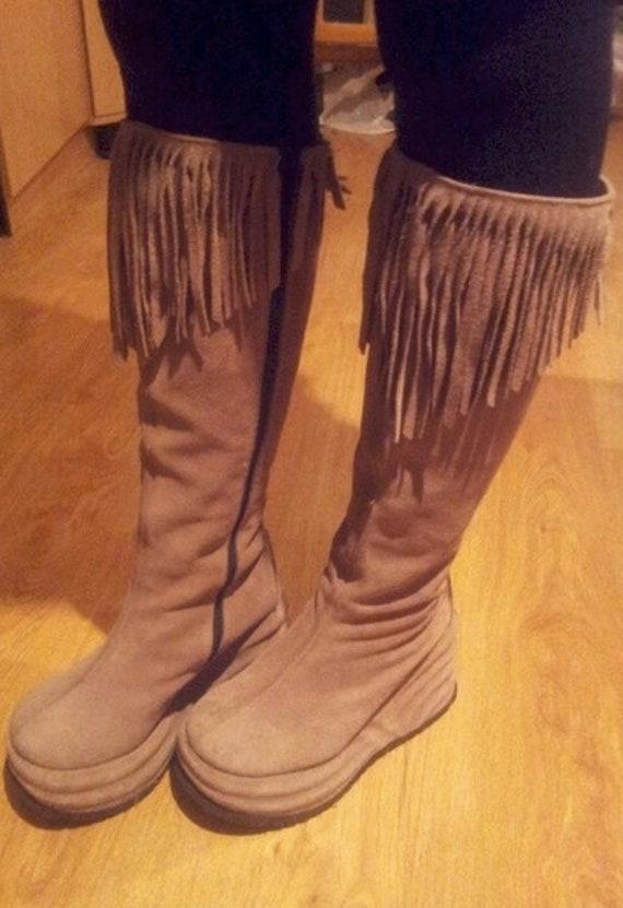 Vintage wedge platform fringe boots / vintage boho
