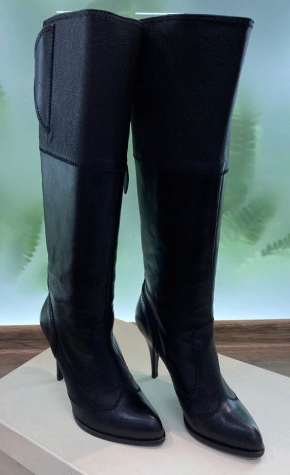 Black leather long boots Jean Paul Gaultier boots
