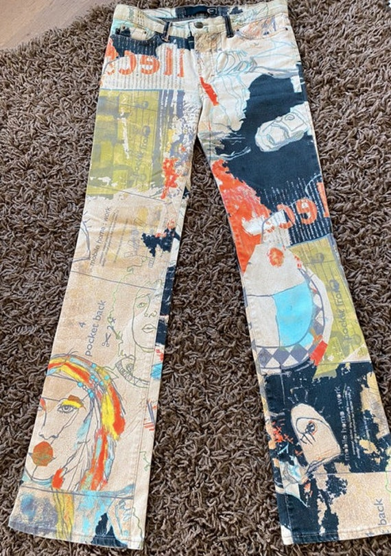 Roberto Cavalli crazy print jeans size M psychede… - image 1