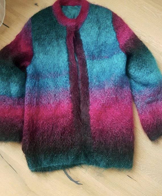 Vintage mohair rainbow cardigan / shaggy coat / fl