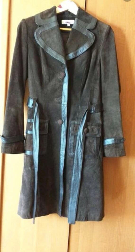 Vintage 90s Y2K brown leather coat / vintage suede