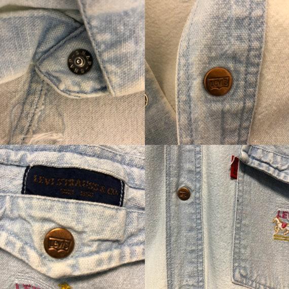 50s Levis denim shirt XL western shirt / 60s Levi… - image 4