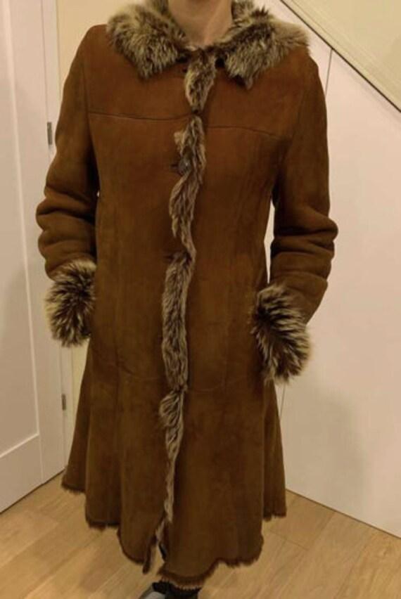 Vintage shearling coat / Lama fur leather coat / c