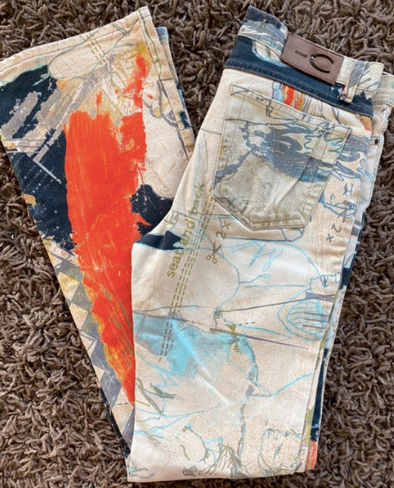 Roberto Cavalli crazy print jeans size M psychede… - image 2
