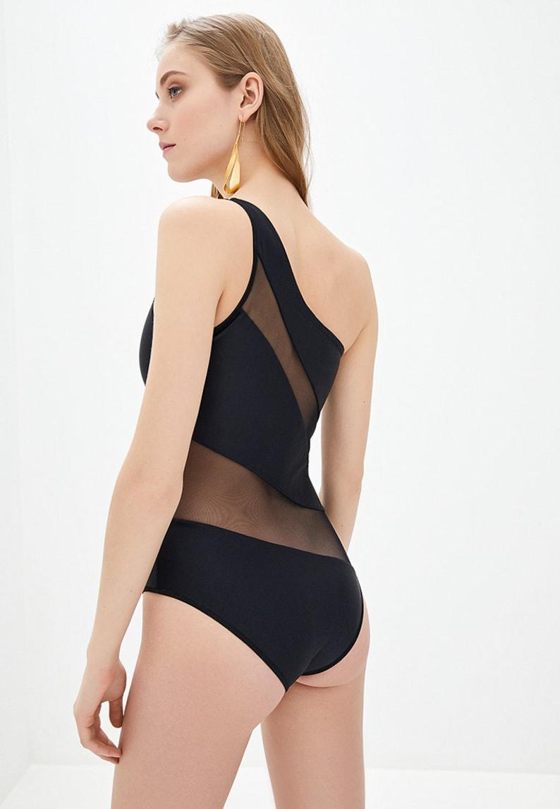 Fashionable Bikini Luxury One Piece Swimsuit Black Bikini Silver Wave Black