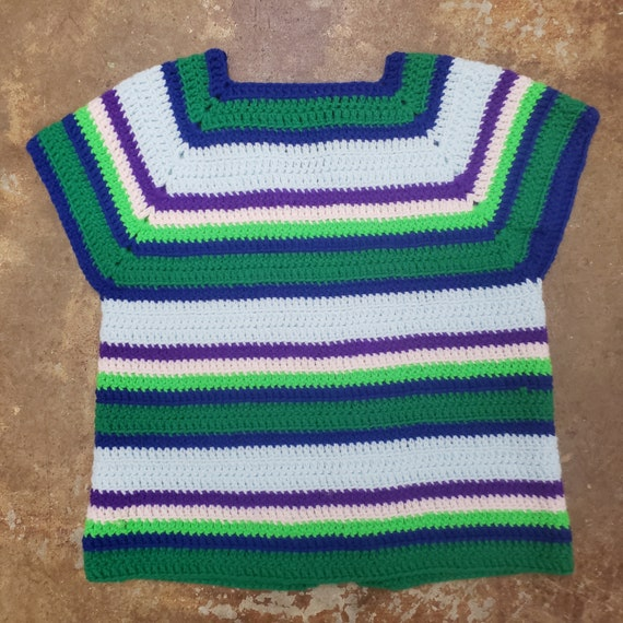 1970s Cool  Hand Crochet Striped Sweater Vest - image 5