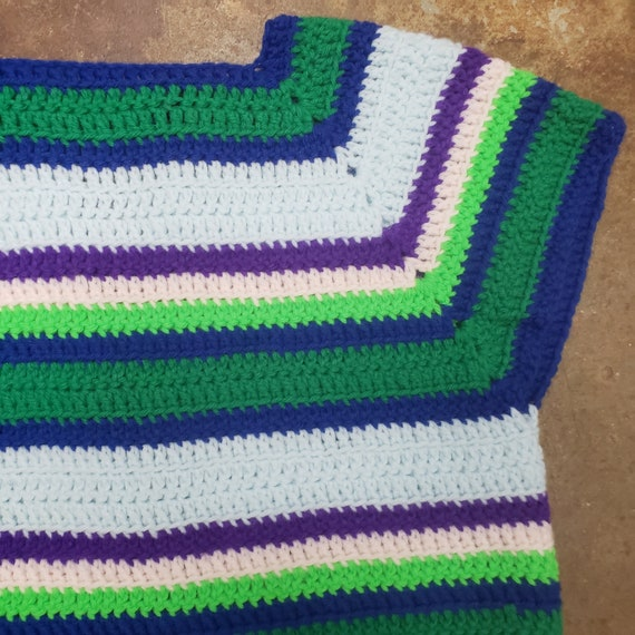 1970s Cool  Hand Crochet Striped Sweater Vest - image 6