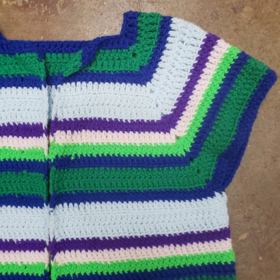 1970s Cool  Hand Crochet Striped Sweater Vest - image 4