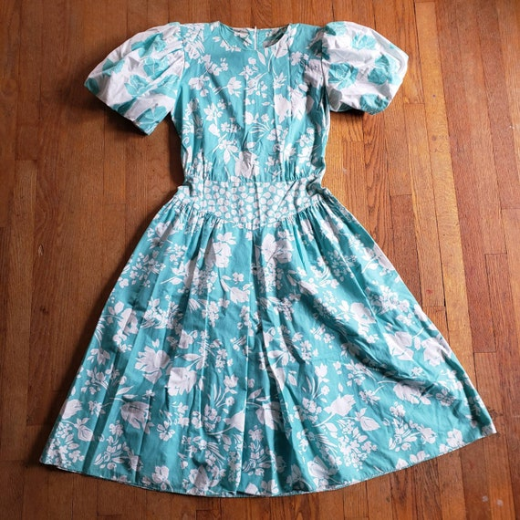 1980s Puff Sleeve Brenner Dress