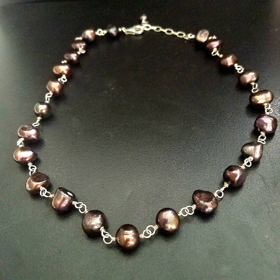 Vintage Peacock Rainbow Fresh Water Pearl Necklace