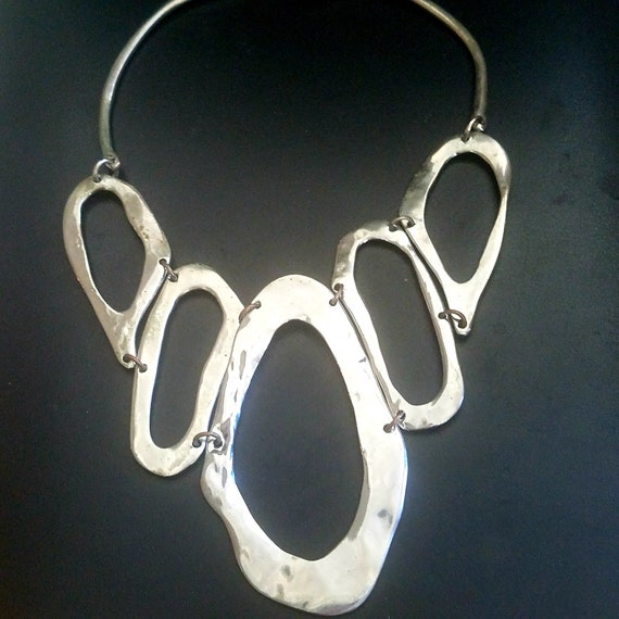 Silver Clay Statement Necklace